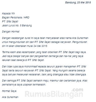 Contoh Surat Resign atau Pengunduran Diri