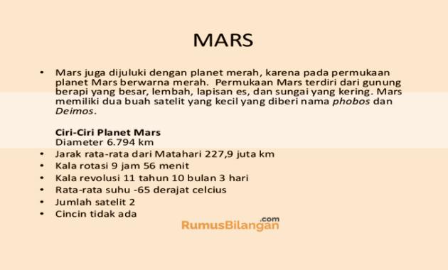 Ciri Ciri Dari Planet Mars
