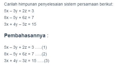 Contoh Soal Sistem Persamaan Linear Tiga Variabel 2019