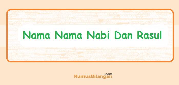 Nama Nama Nabi Dan Rasul